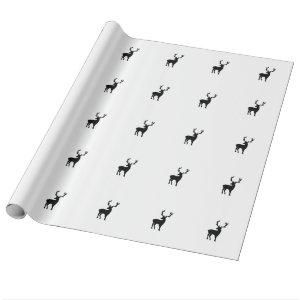 Black and white deer wrapping paper