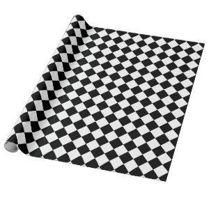 Black and White Diamonds Checkerboard Pattern Wrapping Paper