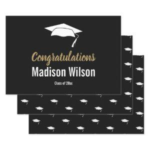 Black and White Graduation Congratulations Wrapping Paper Sheets
