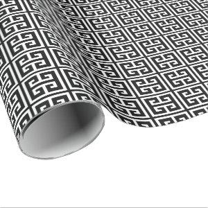 Black and White Greek Key Pattern Wrapping Paper