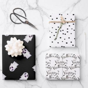 Black and White Halloween Patterns Wrapping Paper Sheets