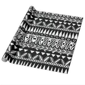 Black and White Hand Drawn Modern Tribal Aztec Wrapping Paper