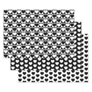 Black and White Hearts Wrapping Paper Sheets