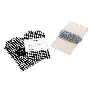 Black and White Houndstooth Your Monogram Gift Tags