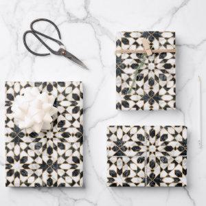 Black and White Marble Moroccan Mosaic Wrapping Paper Sheets