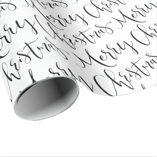 Black And White Merry Christmas Calligraphy