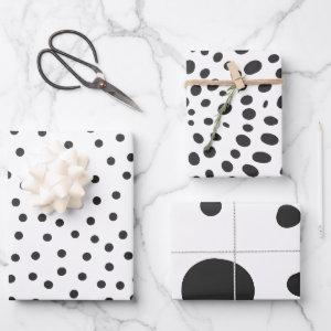 Black and White Modern Dots Patterns Wrapping Paper Sheets