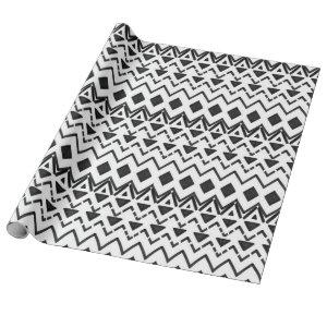 Black and White Modern Hand Drawn Tribal Aztec Wrapping Paper