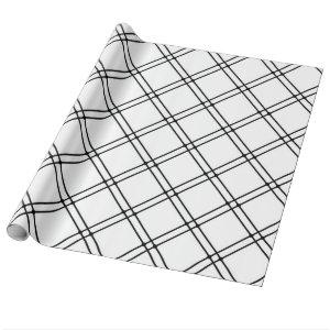 Black and White Modern Plaid Pattern Wrapping Paper