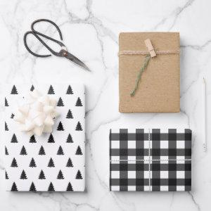Black and White Pine and Plaid Kraft Wrapping Paper Sheets