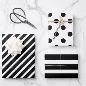 Black and White Polka Dot Striped Wrapping Paper Sheets