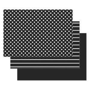 Black and White Polka Dot Stripes Wrapping Paper Sheets
