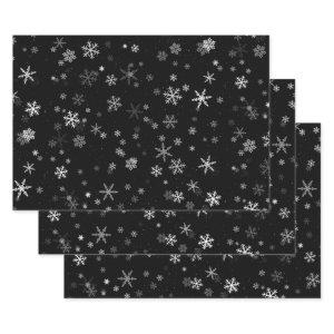 Black and White Snowflake Pattern Holiday Wrapping Paper Sheets