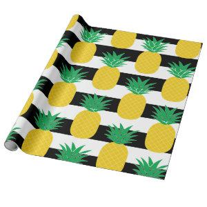 Black and White Striped Pineapple Tropical Wrapping Paper