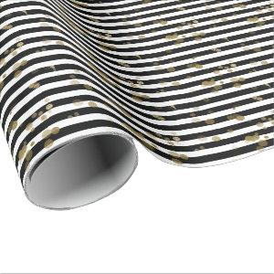Black and White Stripes with Gold Wrapping Paper