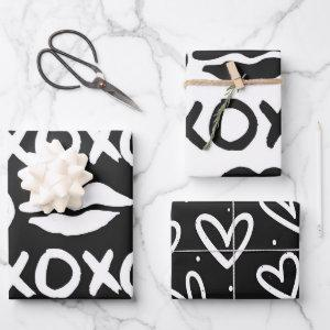 Black and White xoxo lips Wrapping Paper Sheets