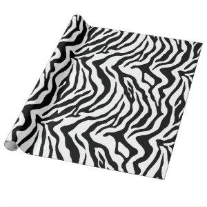 Black and white zebra print wrapping paper