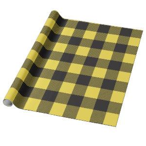 Black and Yellow Buffalo Plaid Wrapping Paper