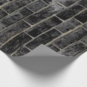 Black Brick Wall Pattern Wrapping Paper