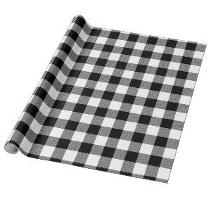 Black Buffalo Plaid Pattern Christmas Gift Wrapping Paper