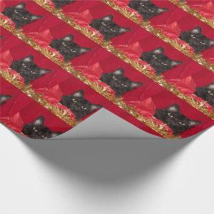 Black cat Christmas Wrapping Paper