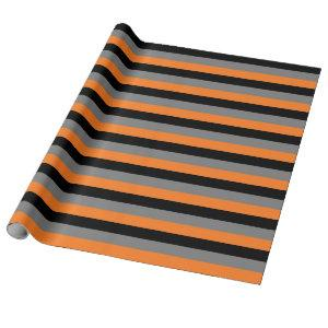 Black, Charcoal Grey and Orange Stripes Wrapping Paper