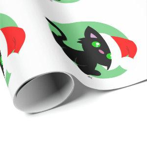 Black Christmas Kitty Wrapping Paper