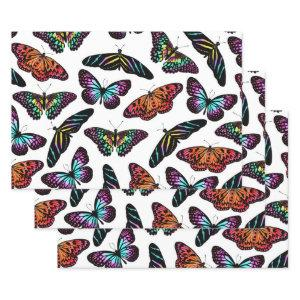 Black Colorful Butterflies Watercolor Pattern Wrapping Paper Sheets