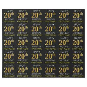 """Black, Faux Gold """"HAPPY 20th BIRTHDAY"""" Wrapping Paper"""