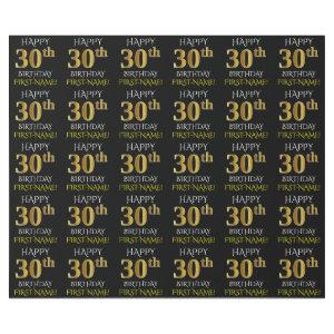 "Black, Faux Gold ""HAPPY 30th BIRTHDAY"" Wrapping Paper"