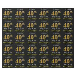 "Black, Faux Gold ""HAPPY 40th BIRTHDAY"" Wrapping Paper"