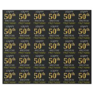 "Black, Faux Gold ""HAPPY 50th BIRTHDAY"" Wrapping Paper"