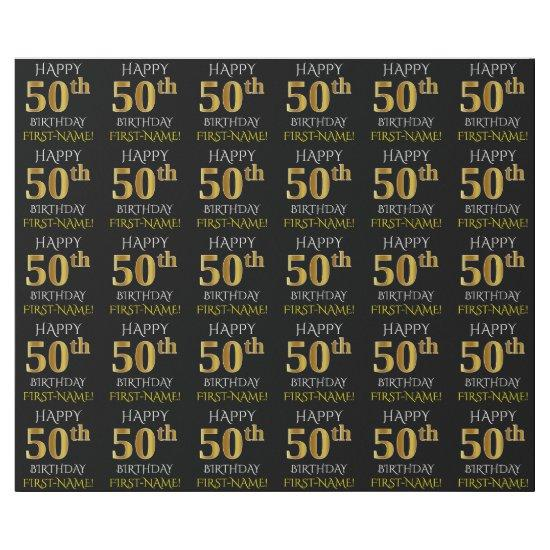 """Black, Faux Gold """"HAPPY 50th BIRTHDAY"""" Wrapping Paper"""