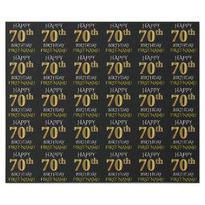 "Black, Faux Gold ""HAPPY 70th BIRTHDAY"" Wrapping Paper"