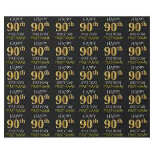 "Black, Faux Gold ""HAPPY 90th BIRTHDAY"" Wrapping Paper"