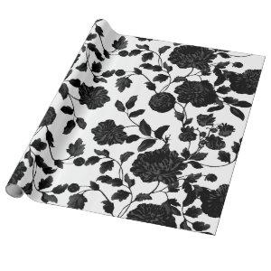 Black Floral Toile Vine On White Wrapping Paper