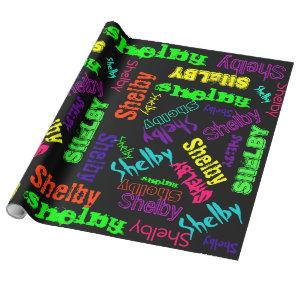 Black Gift Wrap neon color Name Collage