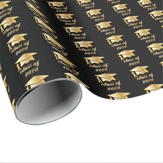 Black Gold Class of 2020 Graduate Cap Graduation Wrapping Paper