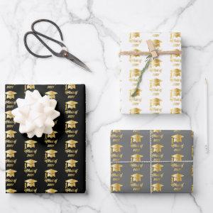 Black Gold Class of 2021 Graduate Cap Graduation Wrapping Paper Sheets