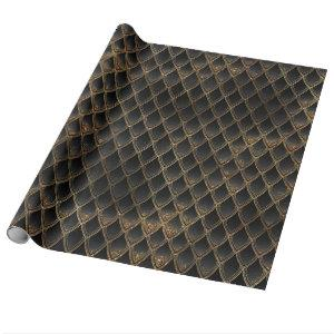 Black & Gold Dragon Scales Fancy Diamond Pattern Wrapping Paper