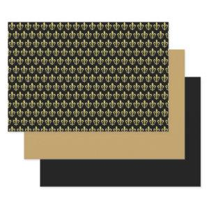 Black Gold Fleur de Lis French Wrapping Sheet Set