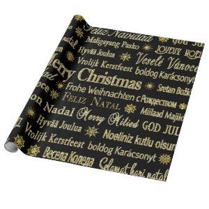 Black & Gold Glitter Merry Christmas Typography Wrapping Paper