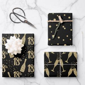 Black Gold Jeweled Champagne 18th Celebration Wrapping Paper Sheets