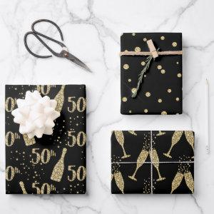 Black Gold Jeweled Champagne 50th Celebration Wrapping Paper Sheets