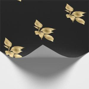 BLACK GOLD LEAVES ELEGANT BIRTHDAY WEDDING WRAP WRAPPING PAPER