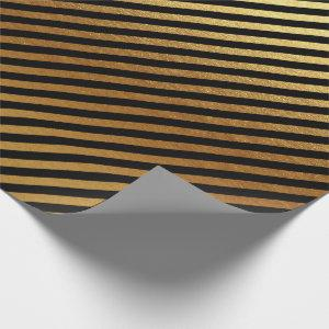 Black Gold Stripes Lines Metallic Minimal Lux Wrapping Paper