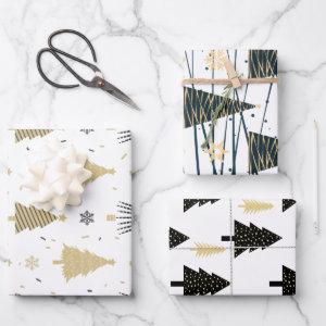 Black Gold White Christmas Tree Holiday Pattern  Sheets