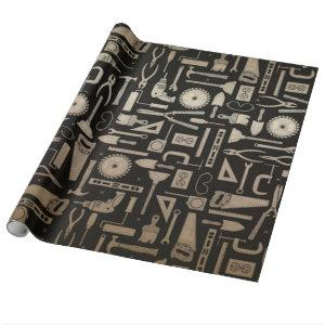Black & Gold Workshop Tools Wrapping Paper