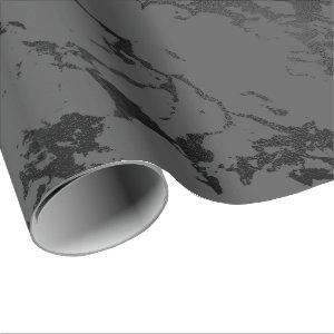 Black Gray Marble Silver Abstract Strokes Caracole Wrapping Paper