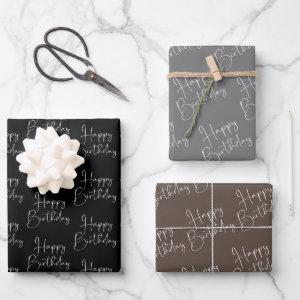 Black Grey Brown Happy Birthday Wrapping Paper Sheets